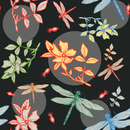 wild rose: Dragonfly and wild rose autumn seamless pattern forest ornament hand drawn ink vintage vector