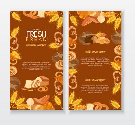 fresh bread: Bakery menu design template fresh bread hand drawn vector illustration