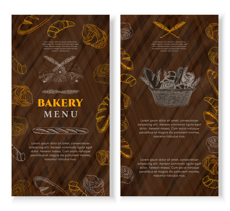 fresh bread: Bakery cover design template chalkboard vintage style. Baking products template. Fresh bread and buns hand drawn ink vector