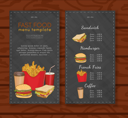 Fast food menu design template fast food vector Vektoros illusztráció