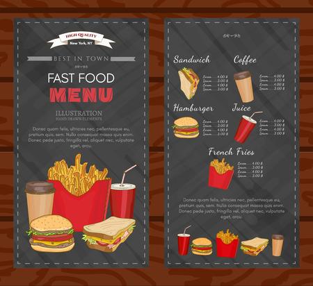 plantilla de diseño de la cubierta de comida rápida comida rápida del menú del vector