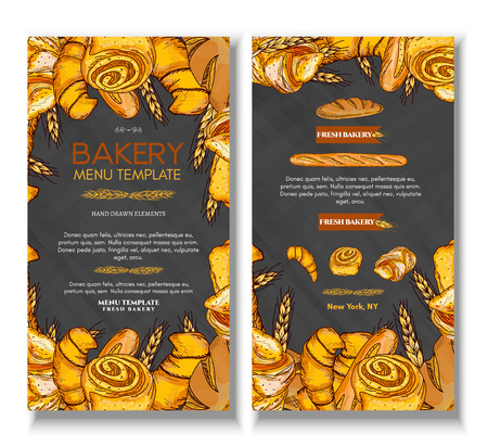 fresh bread: Fresh bread bakery products background buns pastries. Bakery cover design template