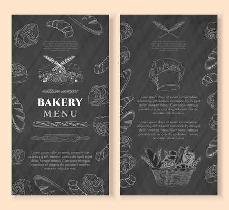 bread basket: Bakery design template chalkboard vintage style. Baking products. Bakery shop, bakery basket, fresh bread and buns hand drawn vector illustration