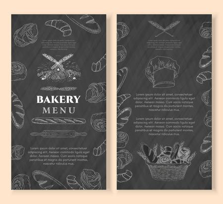 Bakkerij design template krijtbord vintage stijl. Bakproducten. Bakker, bakkerij, vers brood en broodjes met de hand getekende vector illustratie