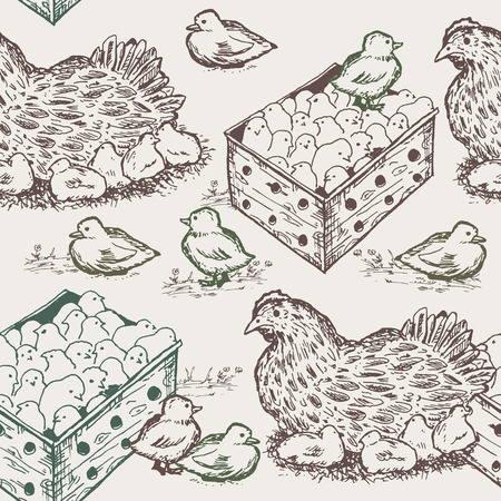 chicks: Hen with chicks seamless pattern Illustration