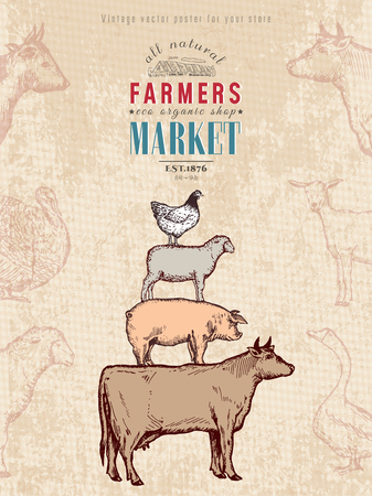 Farm shop vintage poster retro butcher shop farm animals livestock farming poster hand drawn ink vector
