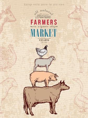 Farm shop vintage poster retro butcher shop farm animals livestock farming poster hand drawn ink vector