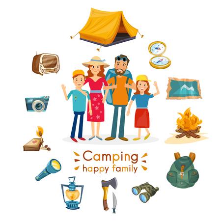 family: Camping family hiking and outdoor recreation vector