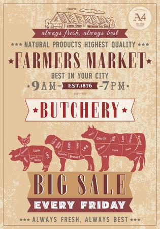 肉屋店ビンテージ ポスター食肉牛・豚・ ラム。ファームの市場。牛、鶏、豚、羊、鶏の肉の切り身。肉屋レトロ ポスター手書きベクトル