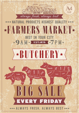 Butcher shop vintage poster fresh meat beef, pork, lamb. Farm market. Cow, chicken, pig, sheep, chicken meat cuts. Butchery retro poster hand drawn vector Illustration
