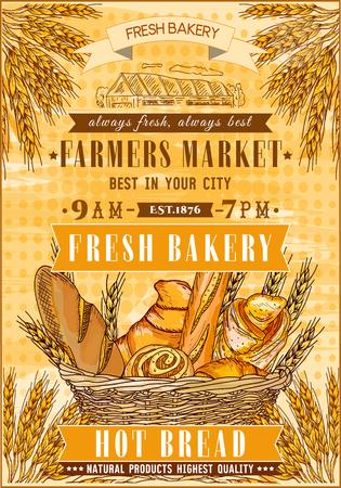 bread basket: Bakery shop retro poster. Fresh bread. Basket of fresh bread and rolls. Bakery vector illustration Vectores