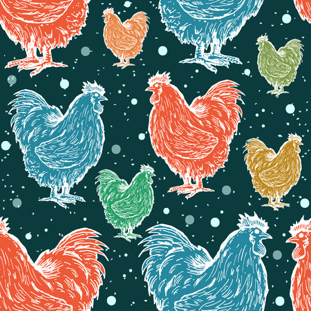 Roosters seamless pattern symbol of new year 2017 colored roosters on the winter background vector
