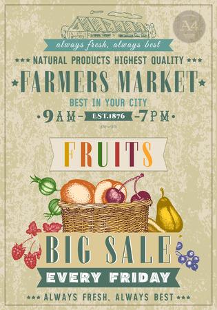 farm market: Farm market fruit shop vegan fruit shop retro poster basket with fresh fruit  hand drawn vector