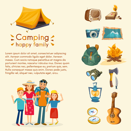 family hiking: Camping family hiking and outdoor recreation set of camping equipment symbols vector Illustration