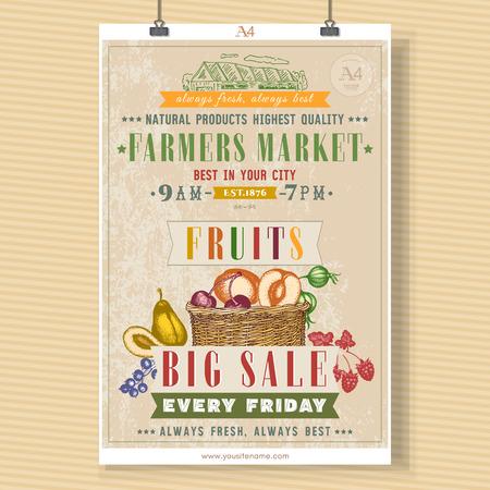 farm market: Farm market fruit shop signboard template. Basket with fresh fruit vegan fruit shop hand drawn vector