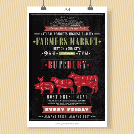 Butcher shop vintage signboard template. Fresh meat beef, pork, lamb. Butchery retro poster chalkboard style hand drawn vector