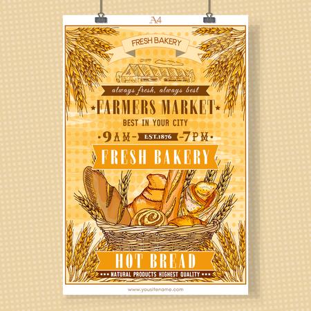 bread basket: Bakery shop template signboard. Fresh bread. Basket of fresh bread and rolls. Bakery vector illustration Vectores