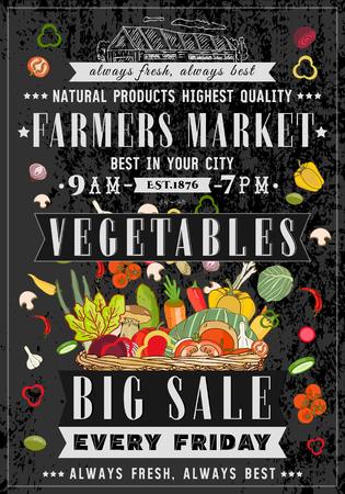 farm market: Vegetable shop retro poster chalkboard style basket with fresh vegetables vegan farm market hand drawn vector Illustration