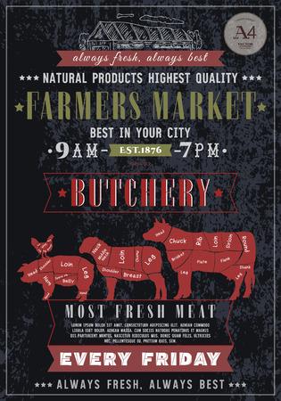 Slagerij vintage poster. Vers vlees rundvlees, varkensvlees, lamsvlees. Slagerij retro poster bord stijl met de hand getekende vector