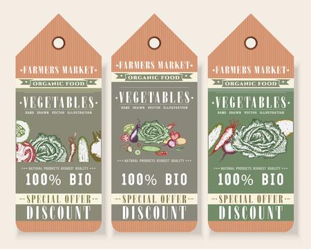 Vegetables tags healthy food design, big discount hand drawn vector illustration