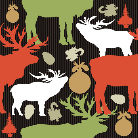 fir tree: Seamless christmas pattern, colored silhouettes of reindeers, balls, fir tree hand drawn vector Illustration