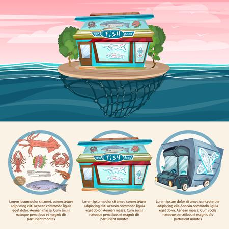 fresh fish: Sea food infographics shop fresh fish cook delivery truck vector set