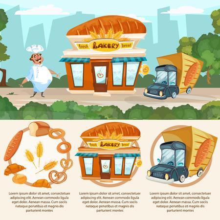 fresh bread: Bakery shop fresh bread baker delivery truck vector set