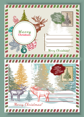 christmas postcard: Christmas envelope vintage template. New Year retro postcard. Reindeer in the winter forest