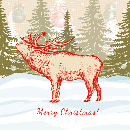 lapland: Merry Christmas card deer in winter forest Illustration