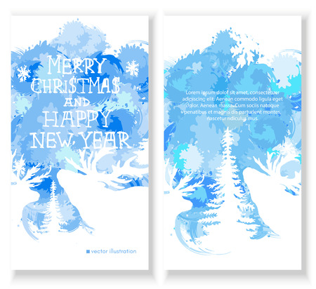 Merry Christmas Card. Set of brochure, poster templates in Christmas style. Christmas forest with reindeer