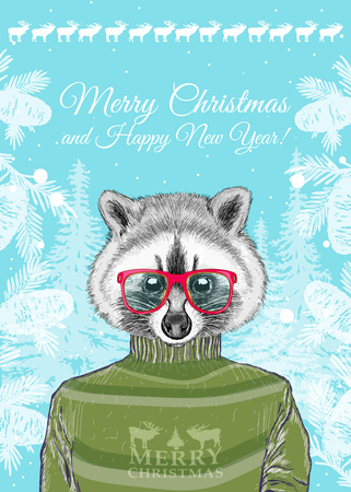 anthropomorphic: Christmas card, hipster animals, portrait of fashion raccoon Illustration