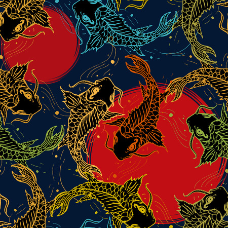 Koi carps seamless pattern, hand drawn art japanese pattern, japan carp background