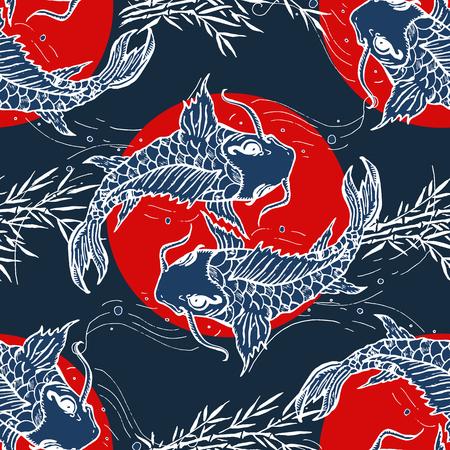 Carpes seamless, dessiné à la main art japonais Banque d'images - 66323928