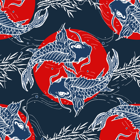 Carps seamless pattern, hand drawn japanese art