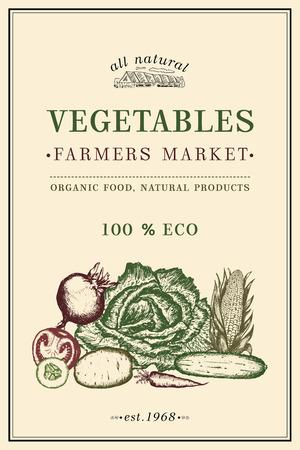 farmer market: Vegetables vintage poster, eco food, farmer market vegetables. Healthy fresh food, vegetarian vegetables, food poster Illustration