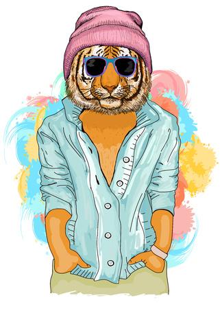 Illustrazione animale di modo della tigre dei pantaloni a vita bassa. Ritratto di moda di hipster tigre Archivio Fotografico - 66084291
