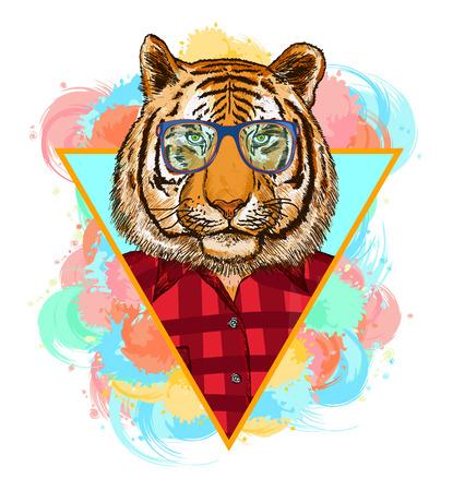 Tiger hipster fashion animal illustration. Fashion portrait of hipster tiger