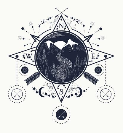 viento de la montaña se elevó arte del tatuaje brújula. Viaje, aventura, al aire libre, símbolo de la meditación. Carretera en las montañas. Tatuaje para acampar, seguimiento y senderismo