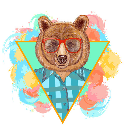 Bear hipster fashion animal illustration. Fashion portrait of hipster bear Ilustração