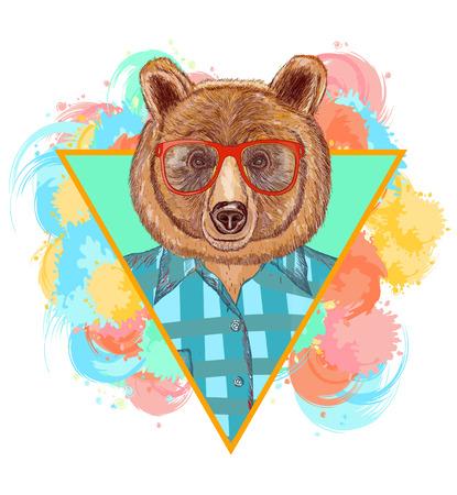 Bear hipster fashion animal illustration. Fashion portrait of hipster bear Vettoriali