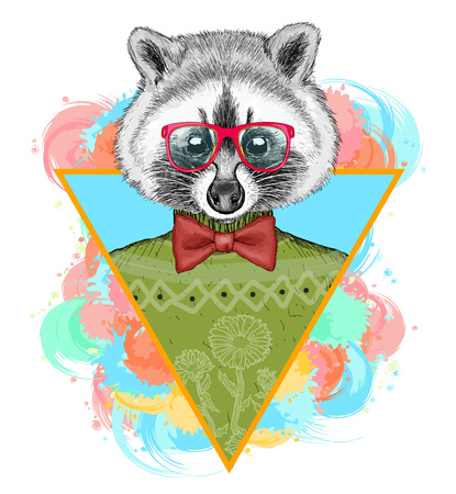 Raccoon hipster mode dier illustration.Fashion portret van hipster wasbeer Stock Illustratie