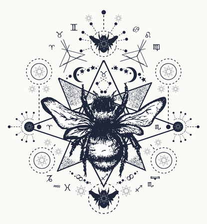 Bee tattoo art. Hand drawn sketch of bumblebee. Bee tattoo sketch.