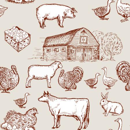 farm market: Farm animals seamless pattern, cows, geese, chickens. Farm market pattern