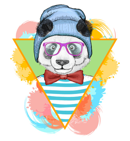 Panda hipster fashion animal illustration.Fashion portrait of hipster panda