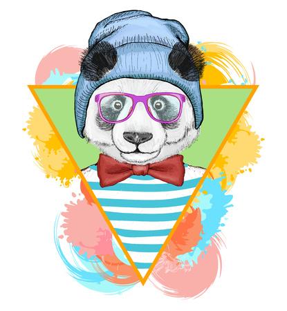 Panda hipster fashion animal illustration.Fashion portrait of hipster panda