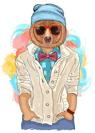 Hipster bear fashion animal illustration. Fashion portrait of hipster bear