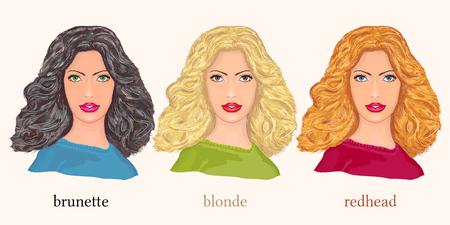 Beautiful women blonde brunette and redhead. Three Beautiful fashion woman
