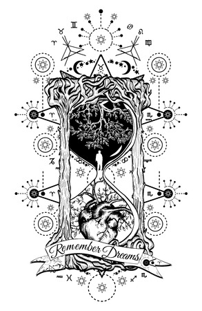 life and death: Tree and heart in hourglass symbol of life and death, mystical tattoo. Man in hourglass tattoo. Evergreen heart. Concept time tattoo. Slogan: remember dreams. Hourglass astrological symbols tattoo art