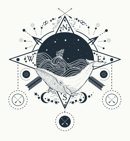 Whale under water tattoo art whale in the sea graphic style. Ship storm waves. Travel, adventure, outdoors, tattoo symbol. Whale tattoo for hipsters, travelers. Water waves in the sea marine tattoo Illustration