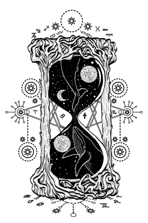 Hourglass tattoo. Whales swim in the hourglass tattoo art, mystic time symbol. Whale dives into space hourglass tattoo vector. Mysticism, spirituality, astrology tattoo art